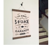 "ARW Custom Canvas Hanging - Always 5 O'Clock Name - 15""x30"" Canvas Wall Hanging"