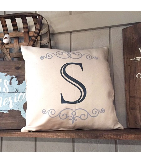 "ARW Custom Pillow Cover - Flourish Monogram Initial - 18""x18"" Farmhouse Style Pillow"