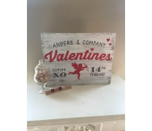 "ARW Custom Wood Sign - Valentines Family Cupid - 14""×19"" Wood Plank Sign"