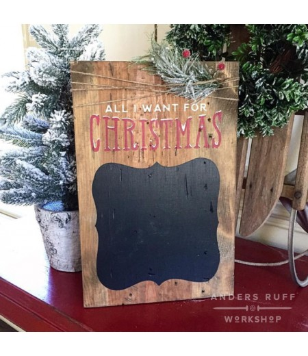 ARW Custom Wood Sign - All I Want for Christmas Chalkboard - Wood Plank Sign