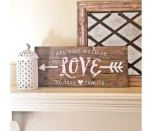 "Custom Wood Sign - All you need is love name - 10.5""×24"" Wood Plank Sign"