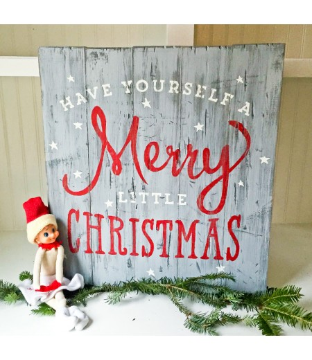 "ARW Custom Wood Sign - Have yourself a Merry Christmas - 14""×19"" Wood Plank Sign"