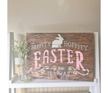 "ARW Custom Wood Sign - Hippity Hoppity Easter Bunny - 14""×19"" Wood Plank Sign"