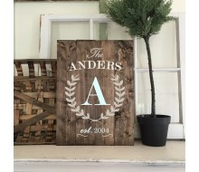 "ARW Custom Wood Sign - Monogram Laurel Wreath Est - 14""×19"" Wood Plank Sign"