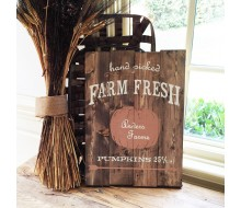 "Custom Wood Sign - Hand Picked Pumpkins - 14""×19"" Wood Plank Sign"