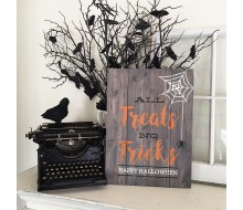 "Custom Wood Sign - All Tricks No Treats - 14""×19"" Wood Plank Sign"