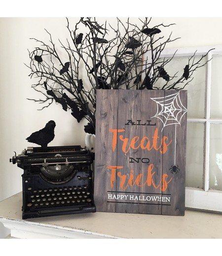 "ARW Custom Wood Sign - All Tricks No Treats - 14""×19"" Wood Plank Sign"