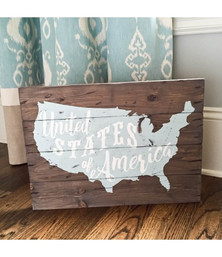 "ARW Custom Wood Sign - USA Typography Map - 19""×14"" Wood Plank Sign"