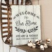 "ARW Custom Wood Sign - Welcome Family Names - 14""×19"" Wood Plank Sign"