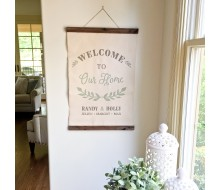 "ARW Custom Canvas Hanging - Welcome Sign Laurel Wreath - 20""x30"" Canvas Wall Hanging"