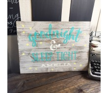 "ARW Custom Wood Sign - Good Night Name - 14""×19"" Wood Plank Sign"