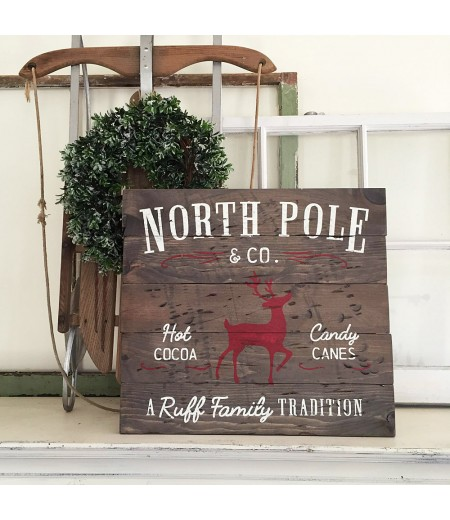 "ARW Custom Wood Sign - North Pole Family Name - 14""×19"" Wood Plank Sign"