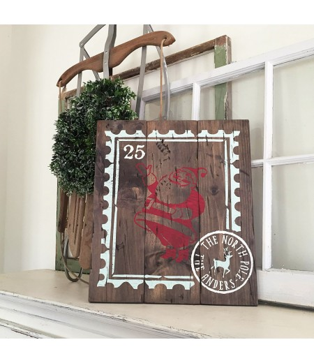 "ARW Custom Wood Sign - Santa Postage Stamp North Pole Family Name - 14""×19"" Wood Plank Sign"