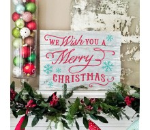"ARW Custom Wood Sign - We wish you a Merry Christmas - 14""×19"" Wood Plank Sign"