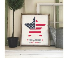 "ARW Custom Wood Sign - Star American Flag Name - 18""x21"" Framed Wood Sign"