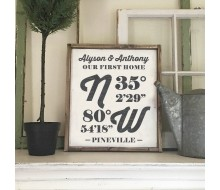 "Custom Wood Sign - Latitude Longitude First Home - 18""x21"" Framed Wood Sign"