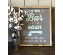 "ARW Custom Wood Sign - Open Bar Name - 18""x21"" Framed Wood Sign"