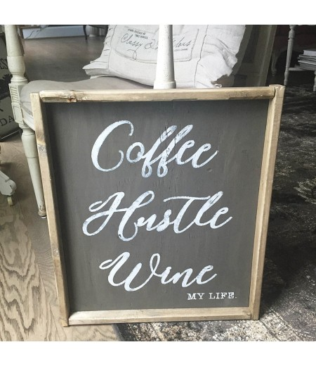 "ARW Custom Wood Sign - Coffee Hustle Wine - 18""x21"" Framed Wood Sign"