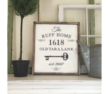 "ARW Custom Wood Sign - Key Family Address Sign - 18""x21"" Framed Wood Sign"