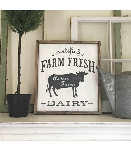 "ARW Custom Wood Sign - Farm Fresh Dairy Name - 18""x21"" Framed Wood Sign"