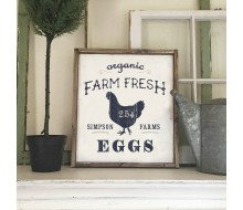 "ARW Custom Wood Sign - Farm Fresh Eggs Name - 18""x21"" Framed Wood Sign"