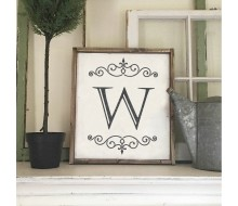 "ARW Custom Wood Sign - Name Initial Sign - 18""x21"" Framed Wood Sign"