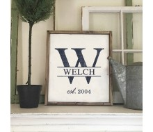 "Custom Wood Sign - Monogram Initial Established - 18""x21"" Framed Wood Sign"
