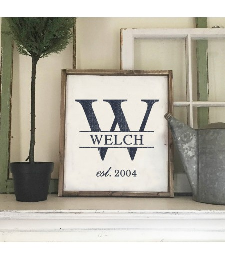 "ARW Custom Wood Sign - Monogram Initial Established - 18""x21"" Framed Wood Sign"