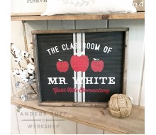 "ARW Custom Wood Sign - Teacher Classroom Sign - 18""x21"" Framed Wood Sign"