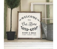 "ARW Custom Wood Sign - Welcome Home Name - 18""x21"" Framed Wood Sign"