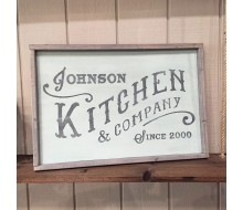 "ARW Custom Wood Sign - Kitchen and Co Name - 18""x26"" Framed Wood Sign"
