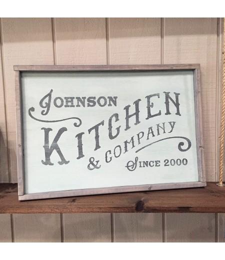 custom framed wood sign