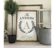 "Custom Wood Sign - Monogram Laurel Wreath - 18""x26"" Framed Wood Sign"
