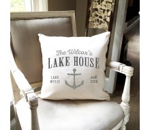 "ARW Custom Pillow Cover - Lake Cottage Anchor - 18""x18"" Farmhouse Style Pillow"