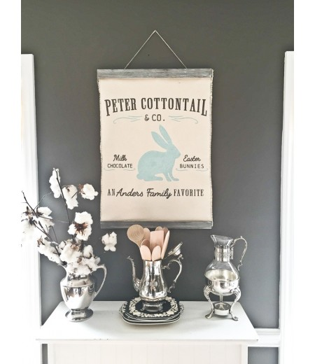 "ARW Custom Canvas Hanging - Peter Cottontail & Co Name - 20""x30"" Canvas Wall Hanging"