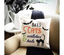 "Custom Pillow Cover - Bats Cats and Witches Hats Halloween - 18""x18"" Farmhouse Style Pillow"