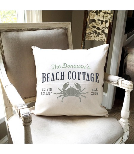 "ARW Custom Pillow Cover - Beach Cottage Crab - 18""x18"" Farmhouse Style Pillow"