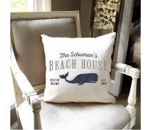 "ARW Custom Pillow Cover - Beach House Whale - 18""x18"" Farmhouse Style Pillow"