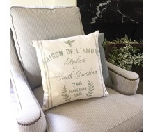 "ARW Custom Pillow Cover - French Family Name Bee Address - 18""x18"" Farmhouse Style Pillow"