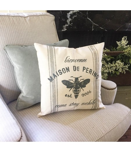 "ARW Custom Pillow Cover - French Family Name Bee - 18""x18"" Farmhouse Style Pillow"