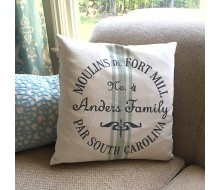 "ARW Custom Pillow Cover - State Crest Grain Sack French - 18""x18"" Farmhouse Style Pillow"