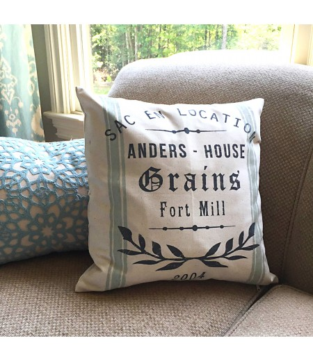 "ARW Custom Pillow Cover - Laurel Wreath Grain Sack French - 18""x18"" Farmhouse Style Pillow"