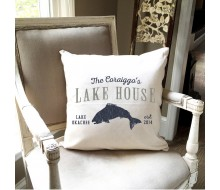 "ARW Custom Pillow Cover - Lake House Fish - 18""x18"" Farmhouse Style Pillow"