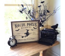 "ARW Custom Wood Sign - Hocus Pocus Witch Broom Family Name - 18""×21"" Wood Sign"