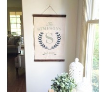 "ARW Custom Canvas Hanging - Monogram Laurel Wreath Est. - 20""x30"" Canvas Wall Hanging"