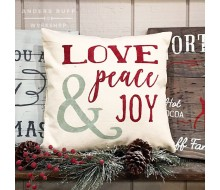 "ARW Custom Pillow Cover - Love Peace Joy - 18""x18"" Pillow Cover"