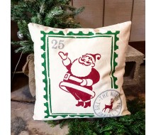 "ARW Custom Pillow Cover - Vintage Santa Stamp - 18""x18"" Pillow Cover"