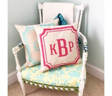 "ARW Custom Pillow Cover - Preppy Monogram Tween Teen - 18""x18"" Farmhouse Style Pillow"