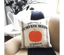 "Custom Pillow Cover - Pumpkin Seeds Name Halloween - 18""x18"" Farmhouse Style Pillow"