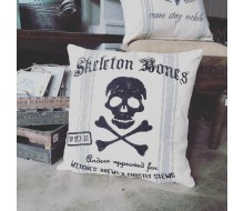 "Custom Pillow Cover - Skeleton Bones Halloween Name - 18""x18"" Farmhouse Style Pillow"